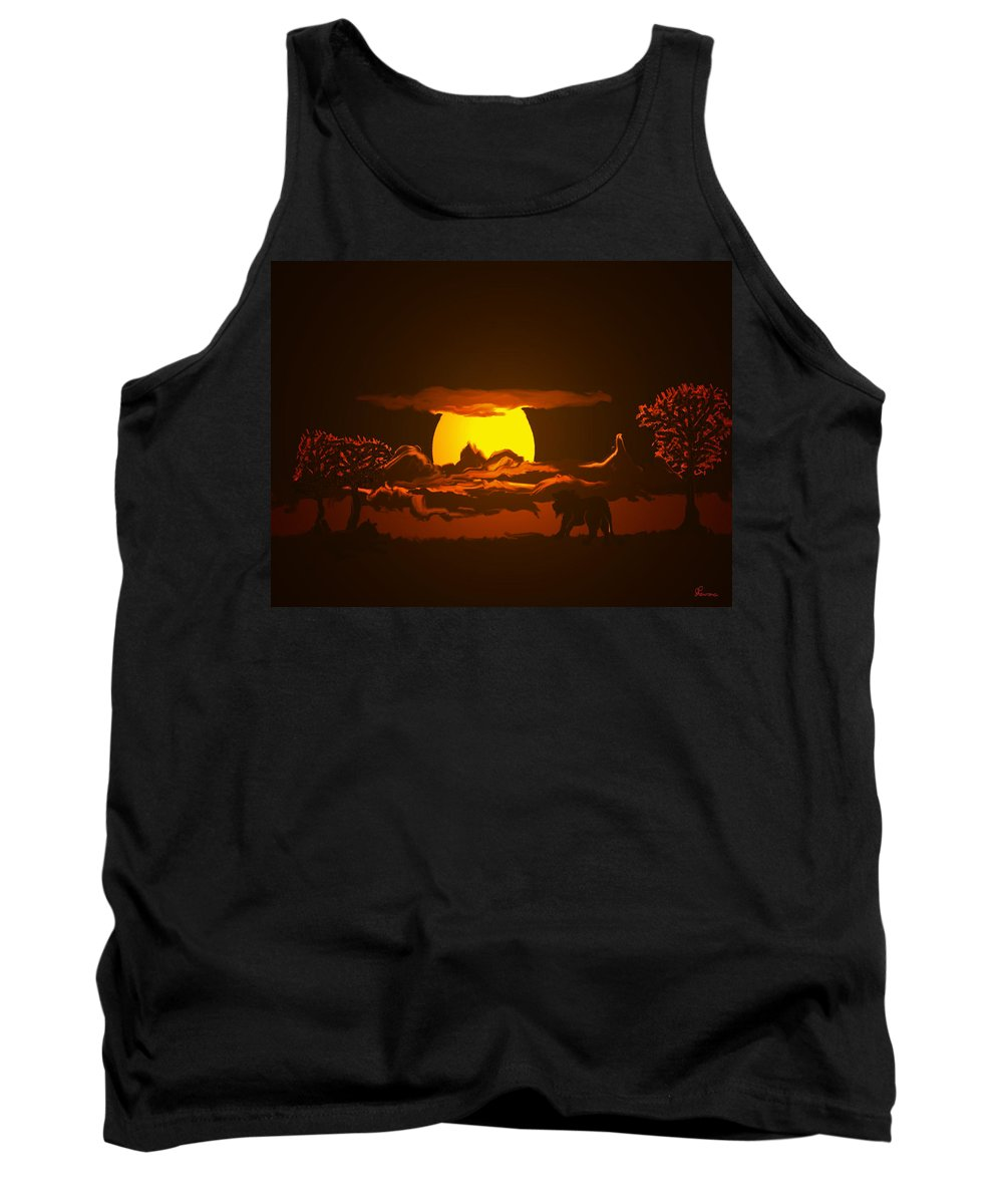 Lion Lions Desert Water Sunset Wild Animals Trees Tank Top featuring the digital art The Last Water Hole by Andrea Lawrence