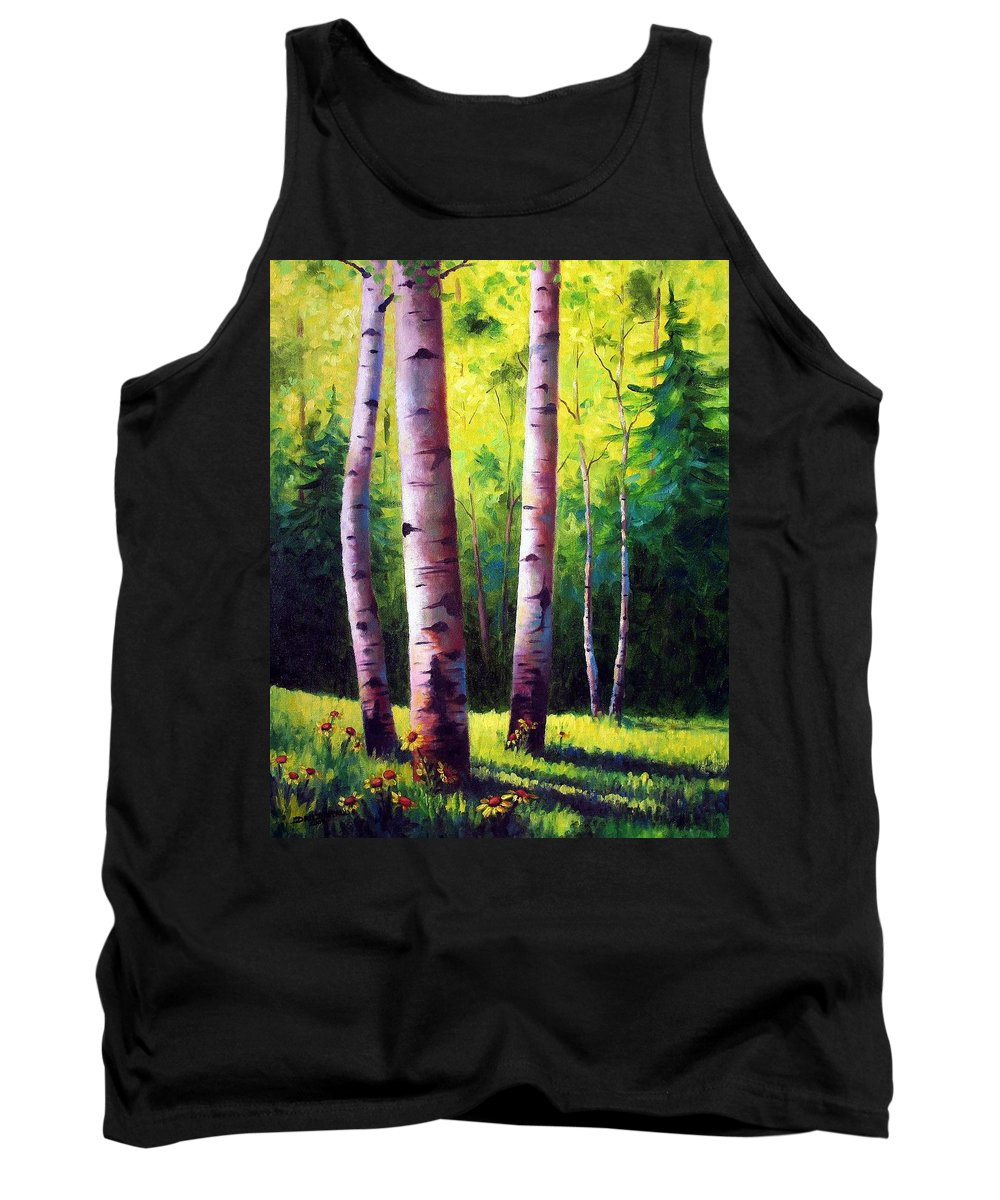 Aspen Tank Top featuring the painting The Light Of Spring by David G Paul