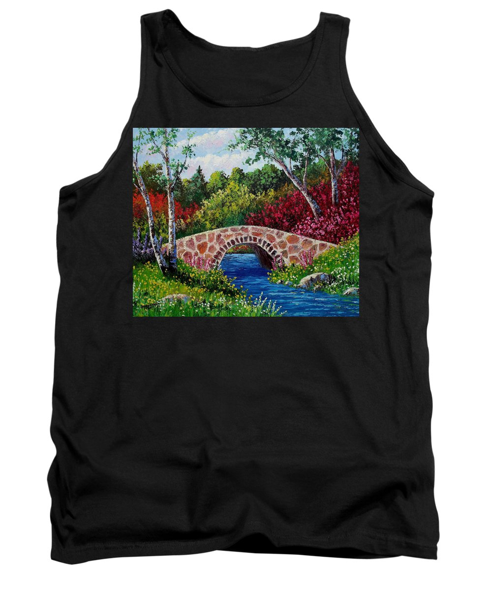 Landscape Tank Top featuring the painting The Little Stone Bridge by David G Paul