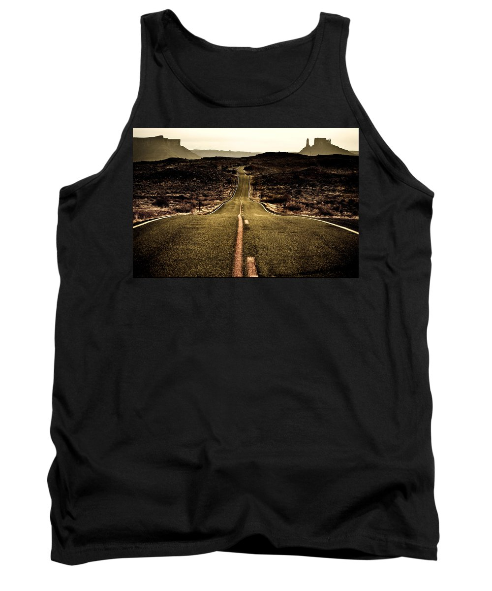 Utah Tank Top featuring the photograph The Long Road by Marilyn Hunt