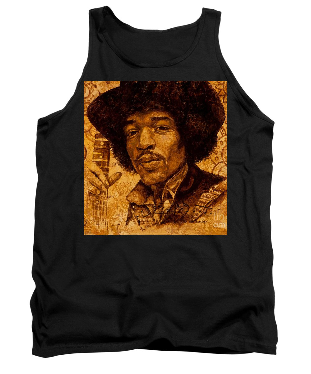 Jimi Hendrix Tank Top featuring the painting The Magician by Igor Postash