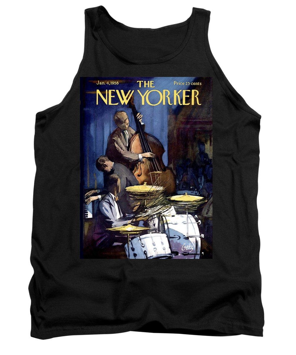 Concert Tank Top featuring the painting The New Yorker Cover - January 4th, 1958 by Arthur Getz
