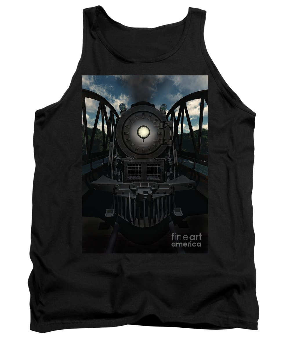 Trains Tank Top featuring the digital art The Old Iron Bridge by Richard Rizzo