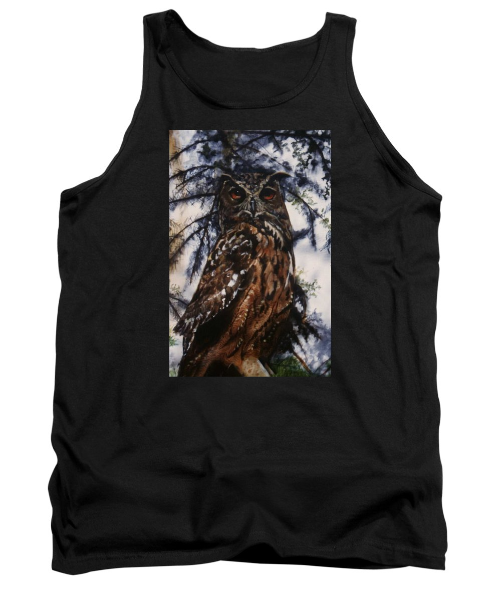 Owl Bird Tank Top featuring the painting The Owl by Janet Lavida