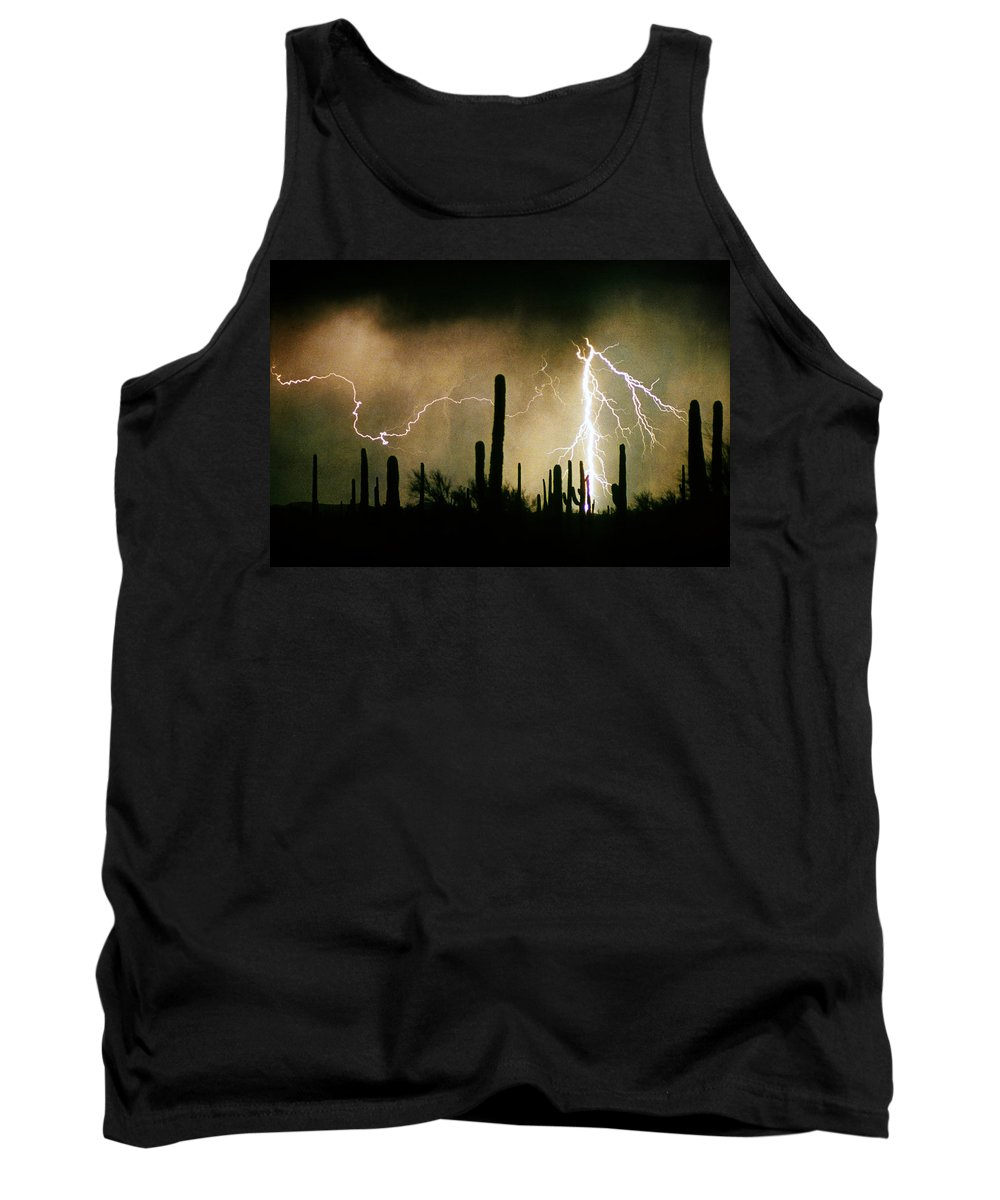 Lightning Tank Top featuring the photograph The Quiet Southwest Desert Lightning Storm by James BO Insogna