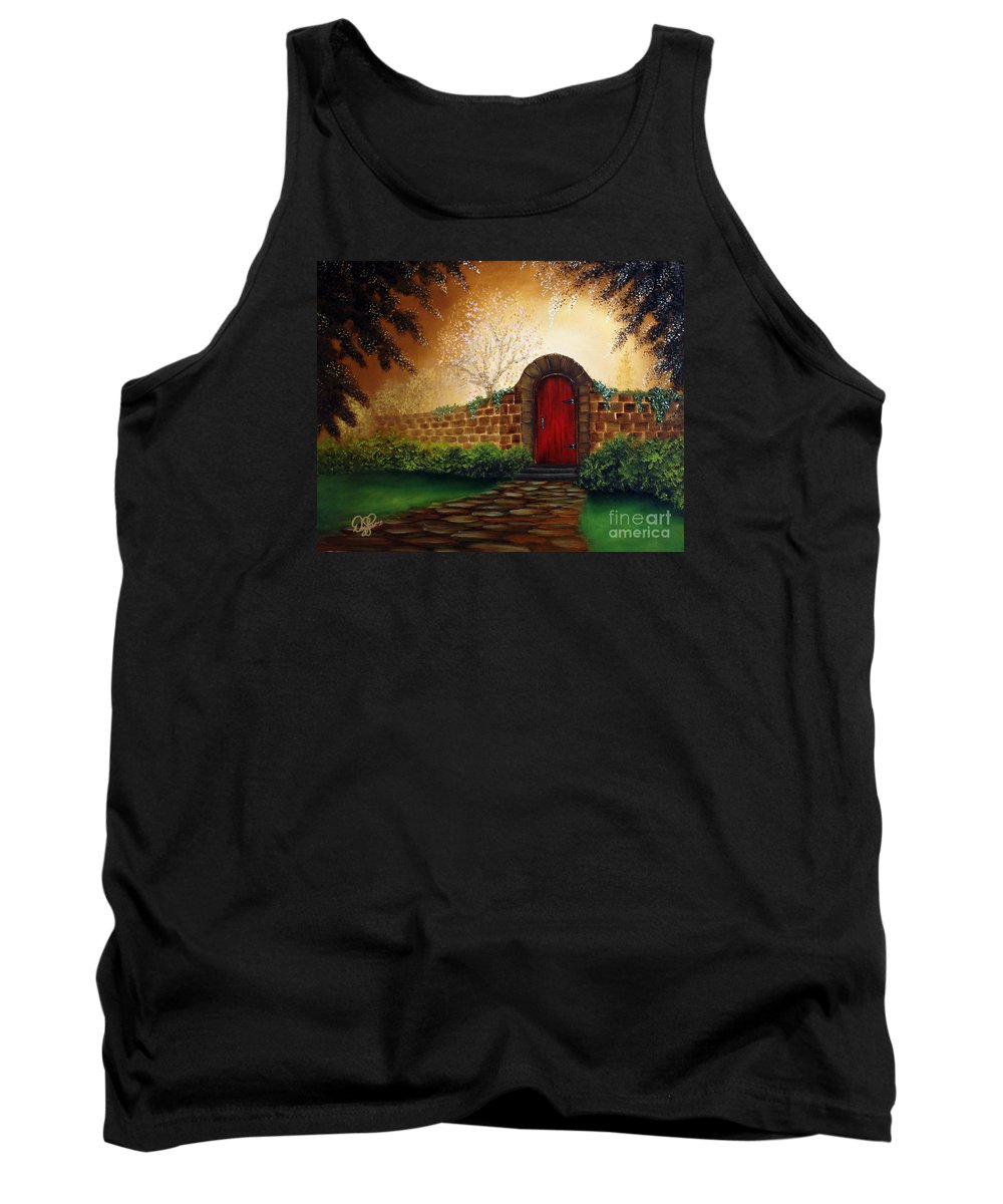 Red Tank Top featuring the painting The Red Door by David Kacey