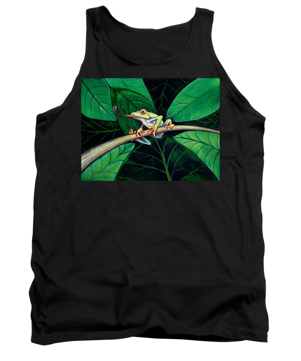 Frog Tank Top featuring the painting The Red Eyed Tree Frog by Elizabeth Robinette Tyndall