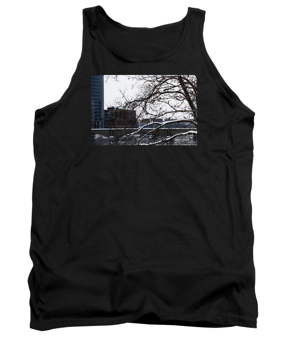 Winter Tank Top featuring the photograph The River Divide by Linda Shafer