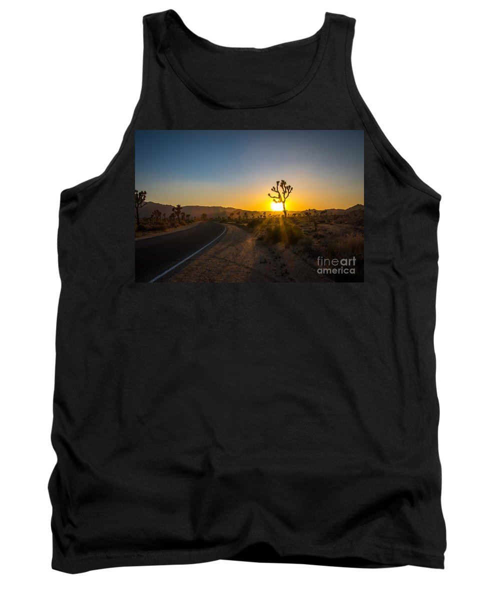 California Tank Top featuring the photograph The Road To Joshua Tree At Sunset by DAC Photography