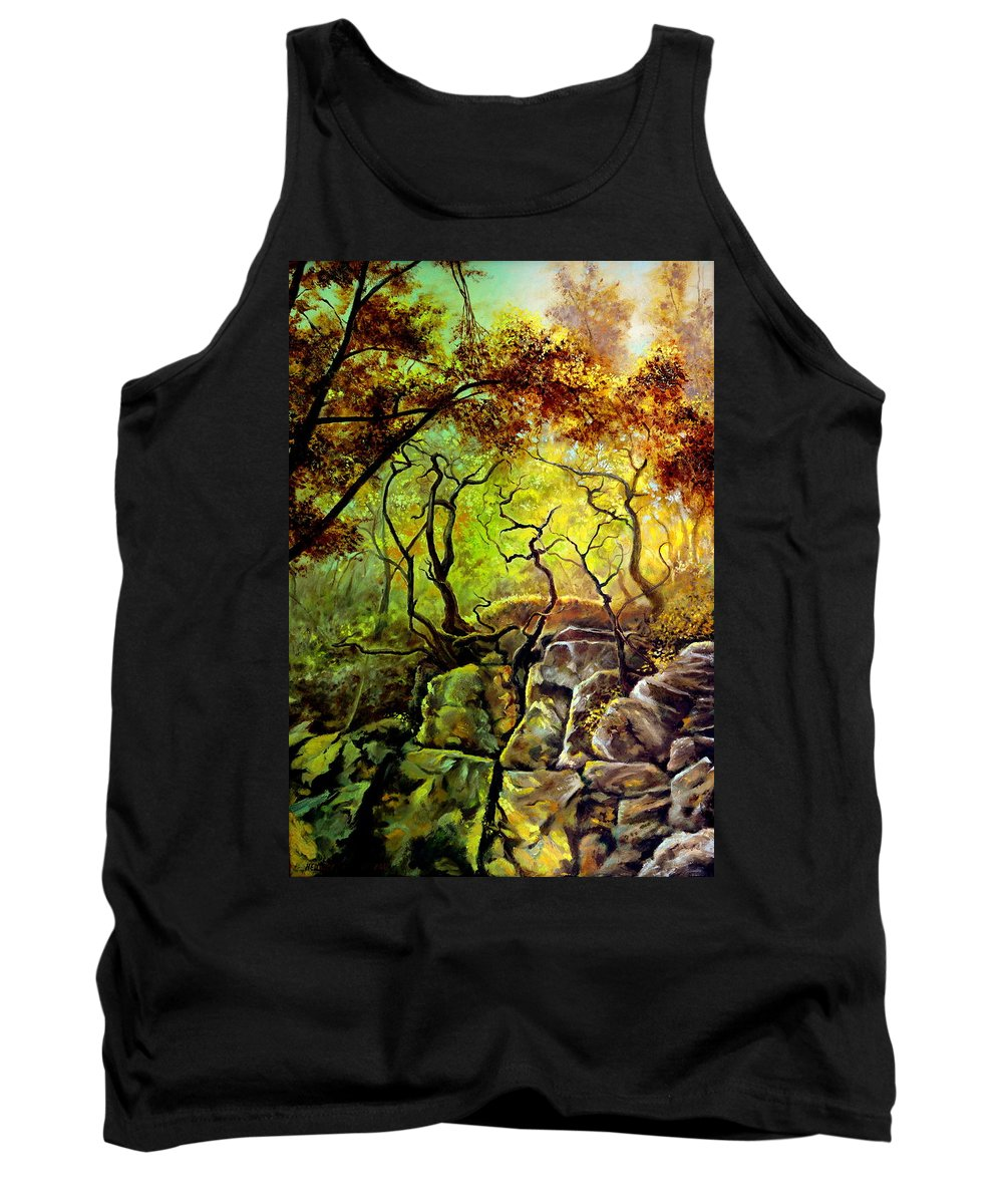 Henryk Tank Top featuring the painting The Rocks In Starachowice by Henryk Gorecki
