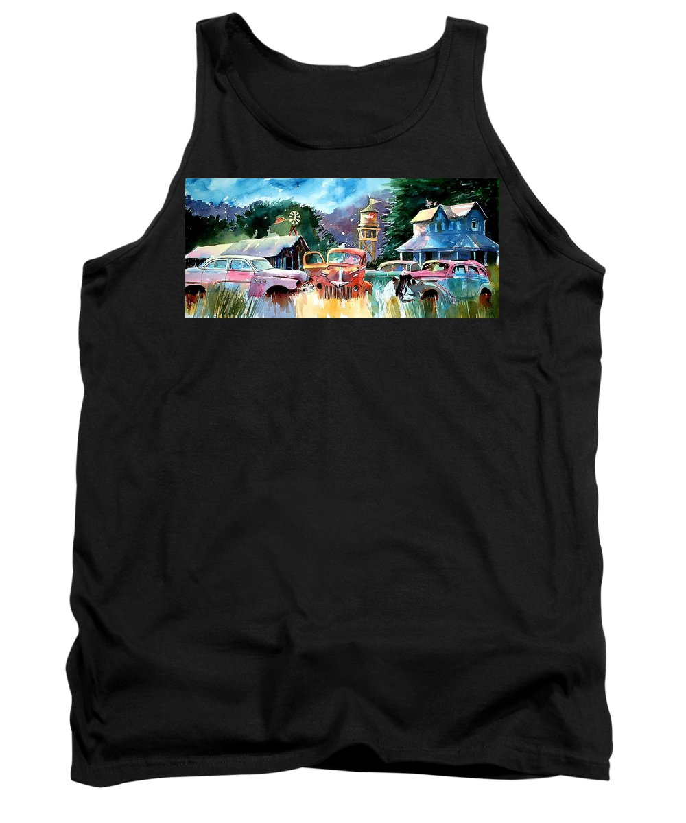 Landscape Watertower Tank Top featuring the painting The Sign Of The Fish On The Watertower by Ron Morrison