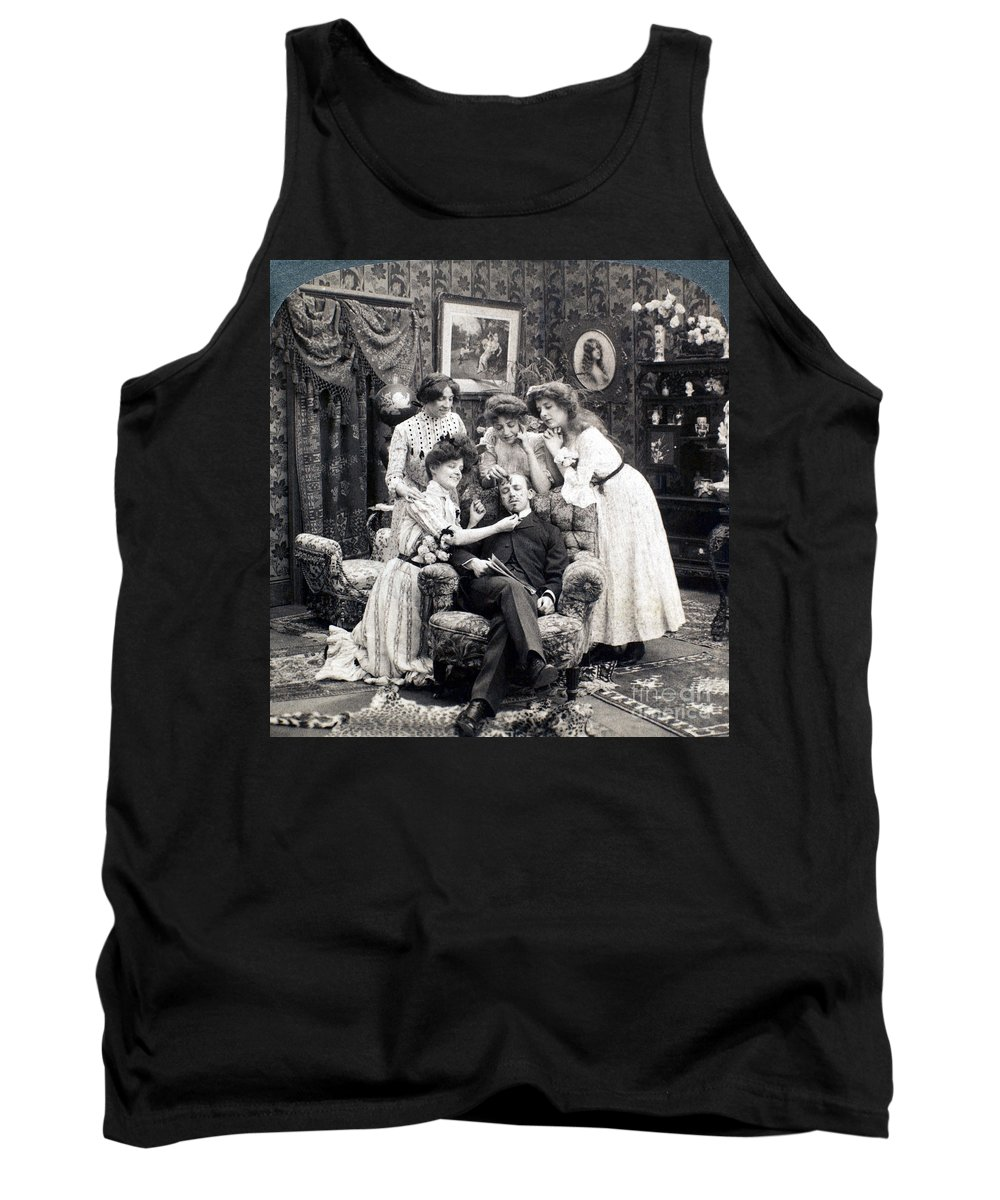 1902 Tank Top featuring the photograph The Sleepy Lover, 1902 by Granger