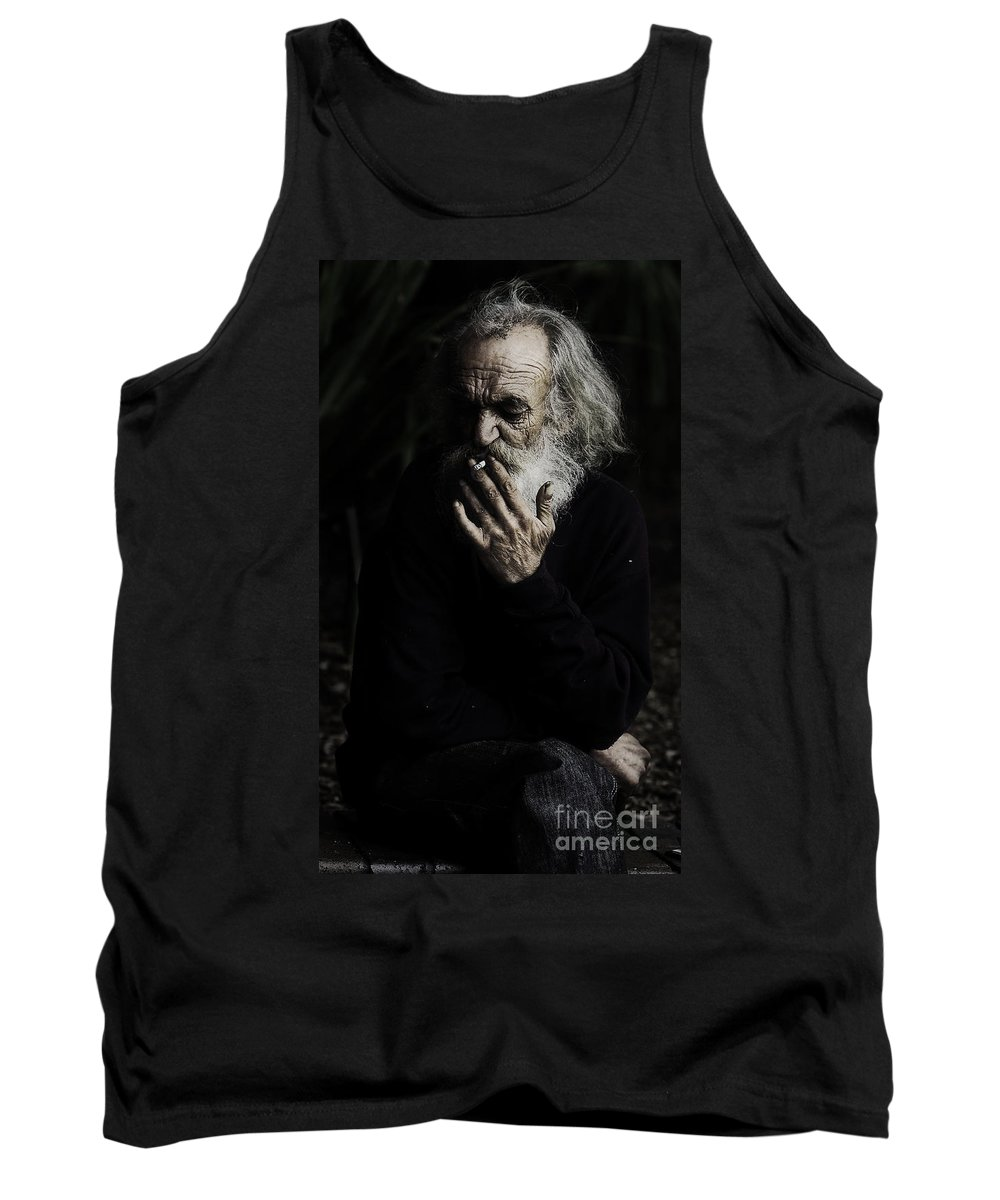 Homeless Male Smoking Smoker Aged Tank Top featuring the photograph The Smoker by Sheila Smart Fine Art Photography