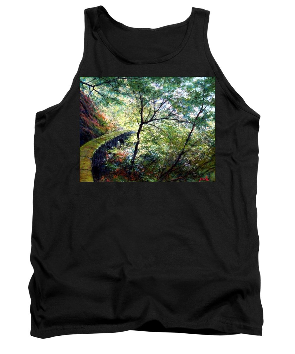 Pastel Tank Top featuring the painting The Stone Wall by Jim Gola