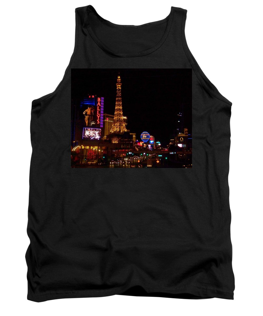 Vegas Tank Top featuring the photograph The Strip At Night 1 by Anita Burgermeister