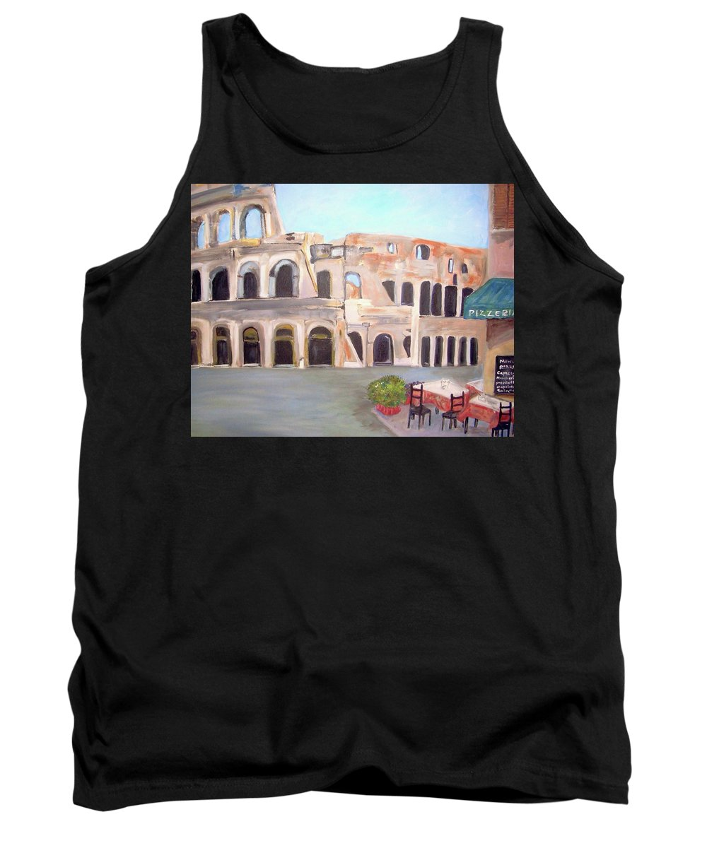 Cityscape Tank Top featuring the painting The View Of The Coliseum In Rome by Teresa Dominici
