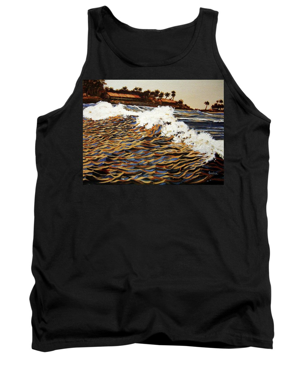 Wave Tank Top featuring the painting The Wave by Usha Shantharam