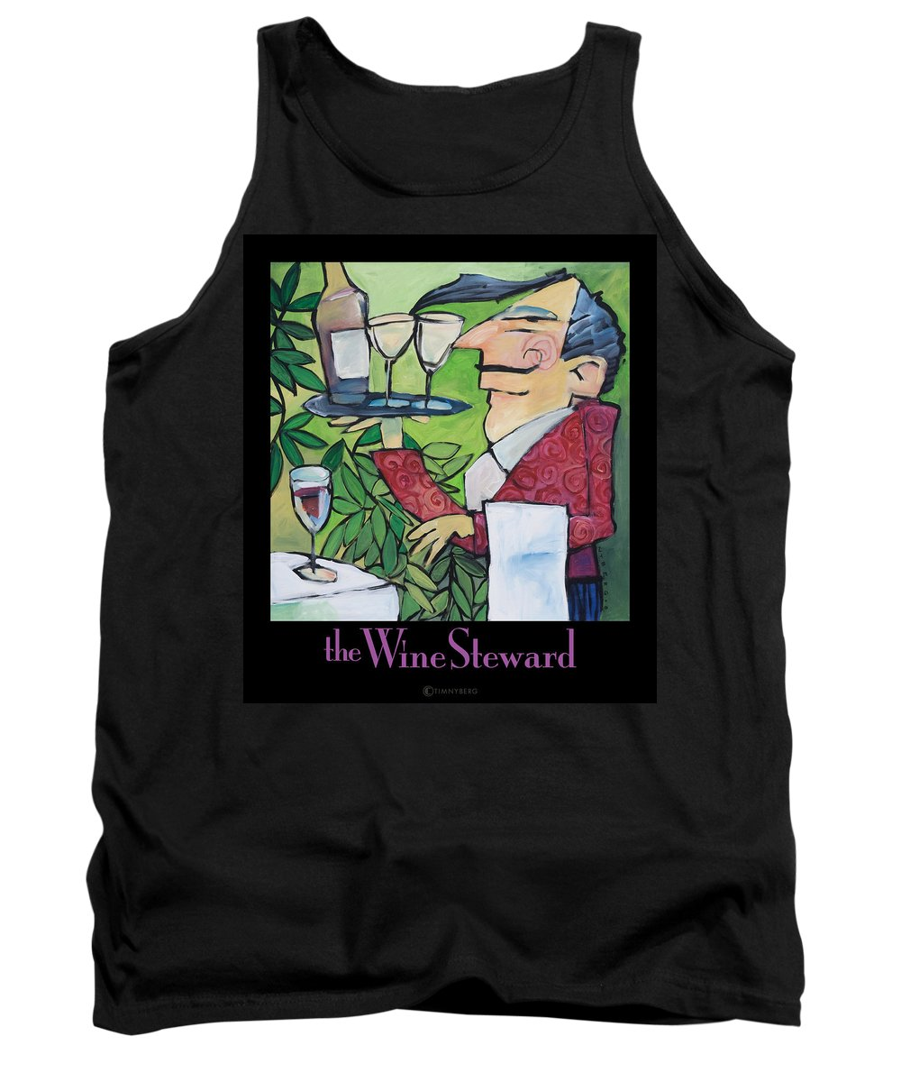 Wine Tank Top featuring the painting The Wine Steward - Poster by Tim Nyberg