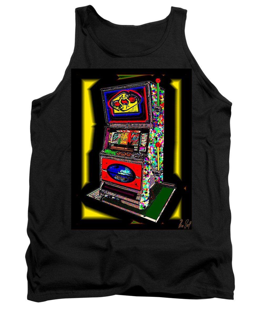 Greed Tank Top featuring the digital art the World-Trade-Slot-Machine by Helmut Rottler