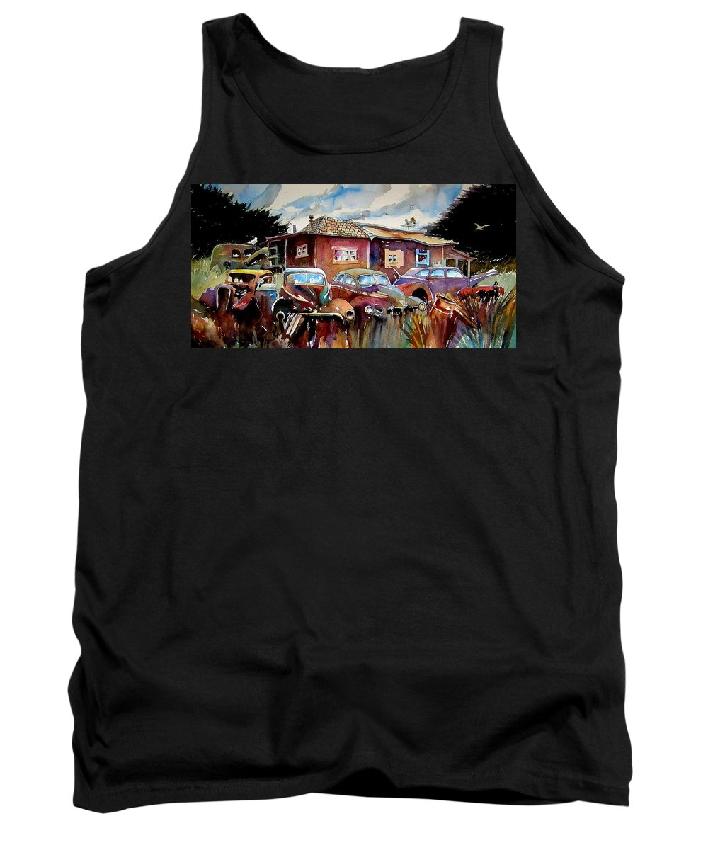 Cars Tank Top featuring the painting The Yard Ornaments by Ron Morrison