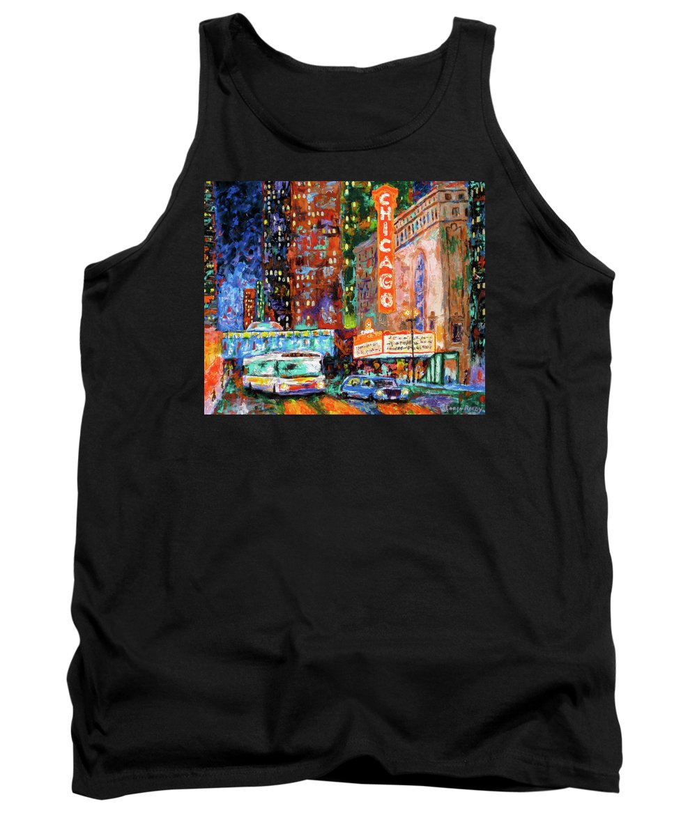 Chicago Theater Tank Top featuring the painting Theater Night by J Loren Reedy
