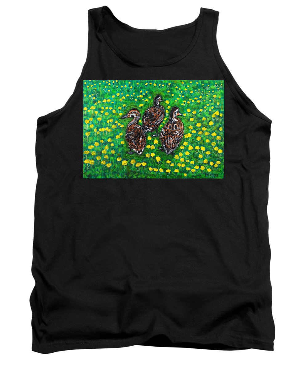 Bird Tank Top featuring the painting Three Ducklings by Valerie Ornstein