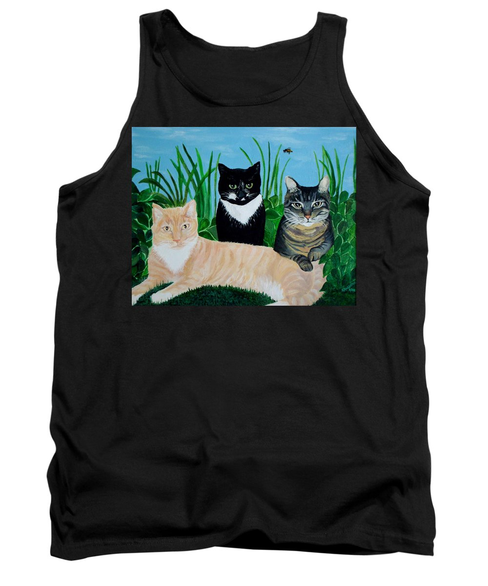 Landscape Tank Top featuring the painting Three Furry Friends by Elizabeth Robinette Tyndall