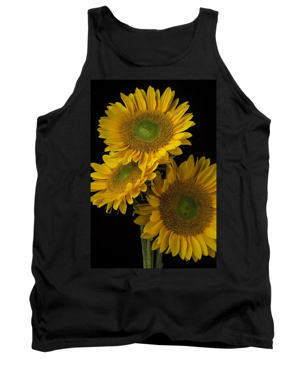 Three Tank Top featuring the photograph Three Golden Sunflowers by Garry Gay