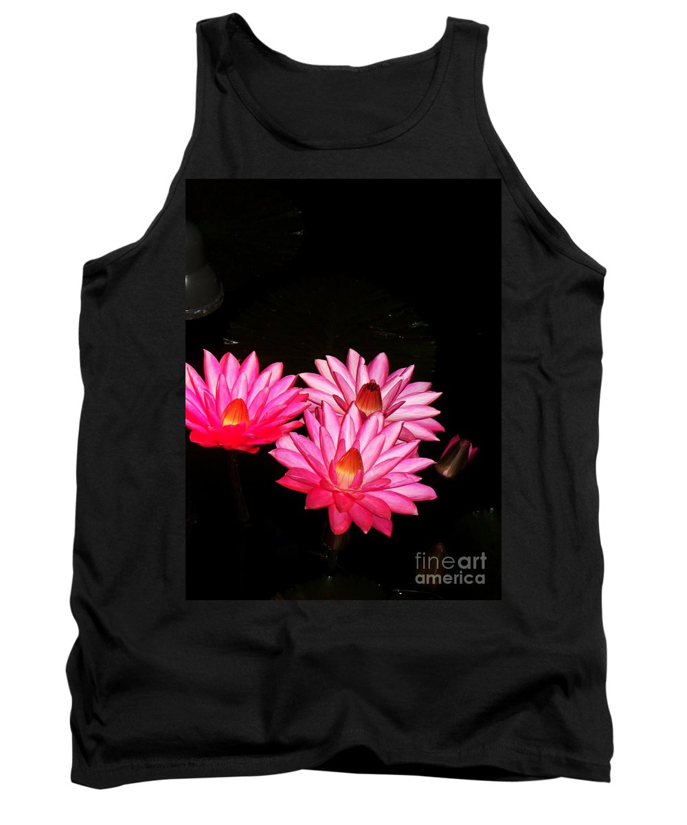 Photograph Tank Top featuring the photograph Three Night Lilies by Eric Schiabor