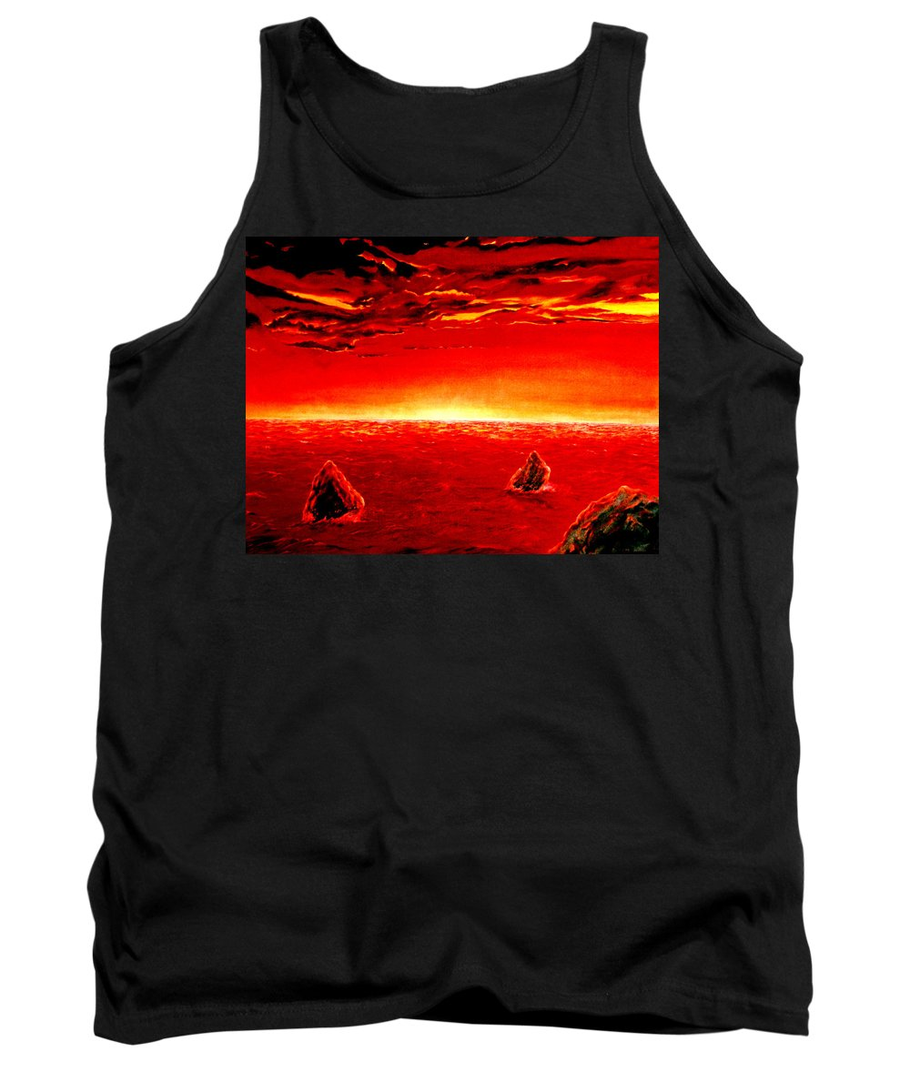 Seascape Tank Top featuring the painting Three Rocks In Sunset by Mark Cawood