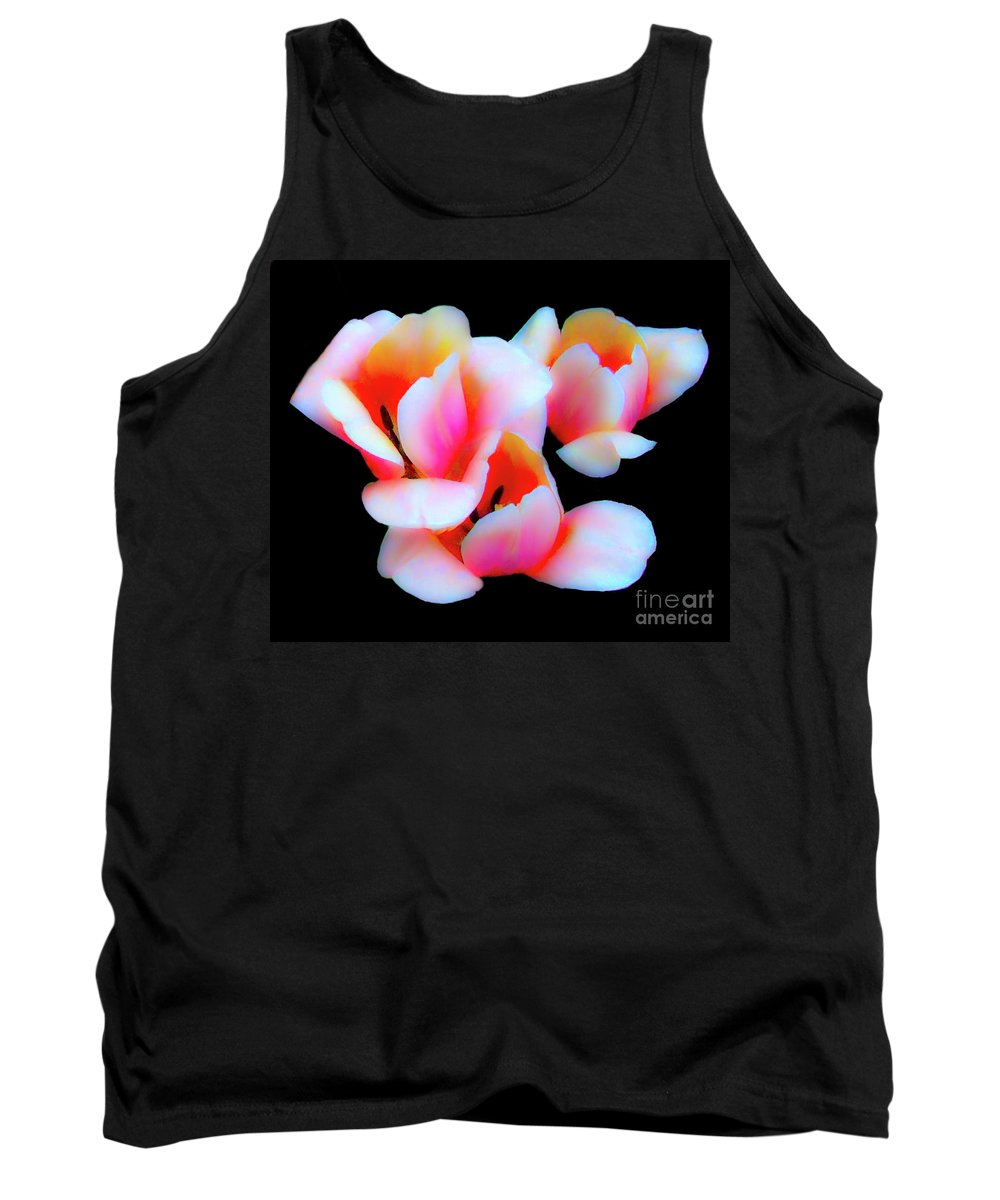 Tulip Tank Top featuring the photograph Three Tulips by Frances Hattier