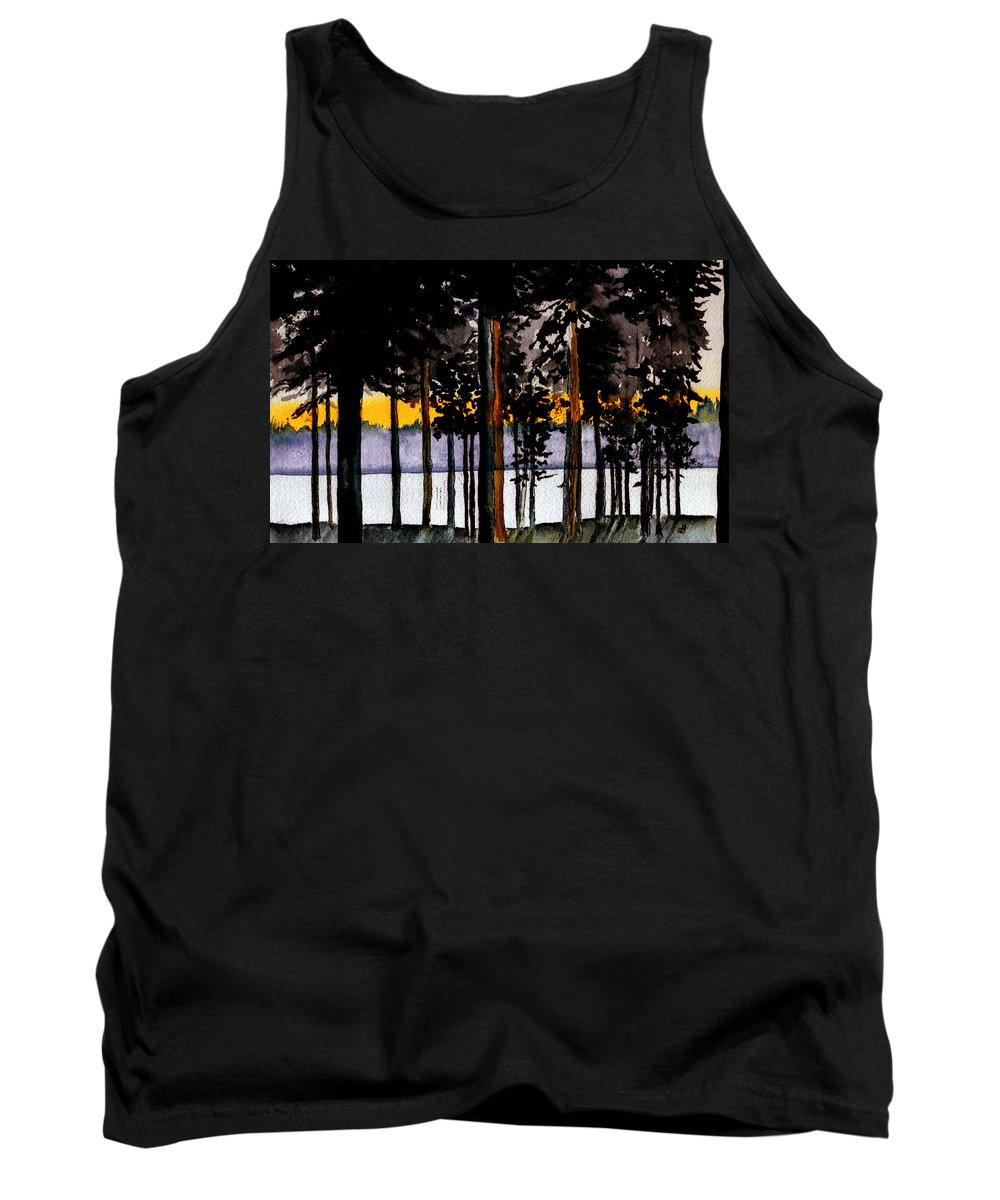 Watercolor Tank Top featuring the painting Through My Woods by Brenda Owen