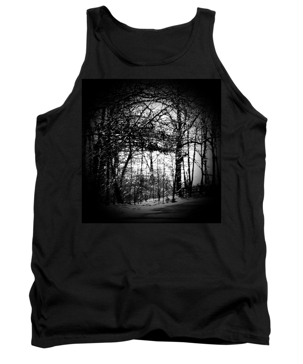 Trees Tank Top featuring the photograph Through The Lens- Black And White by Charleen Treasures