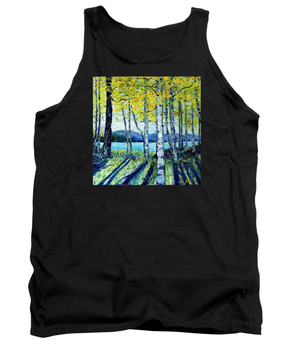 Landscape Tank Top featuring the painting Through The Trees by Jo Gerrior