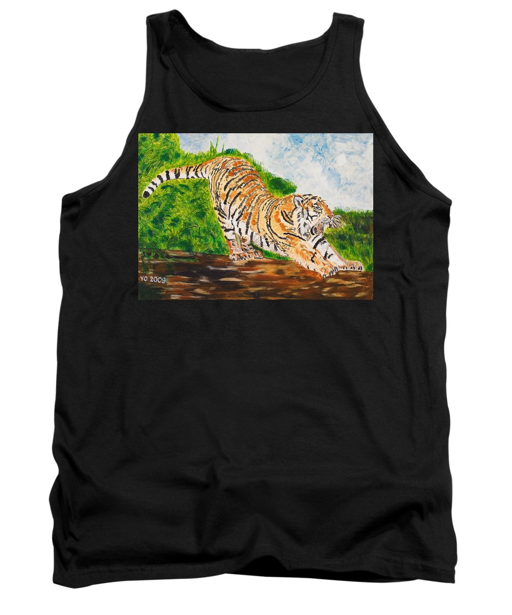 Cat Tank Top featuring the painting Tiger Stretching by Valerie Ornstein
