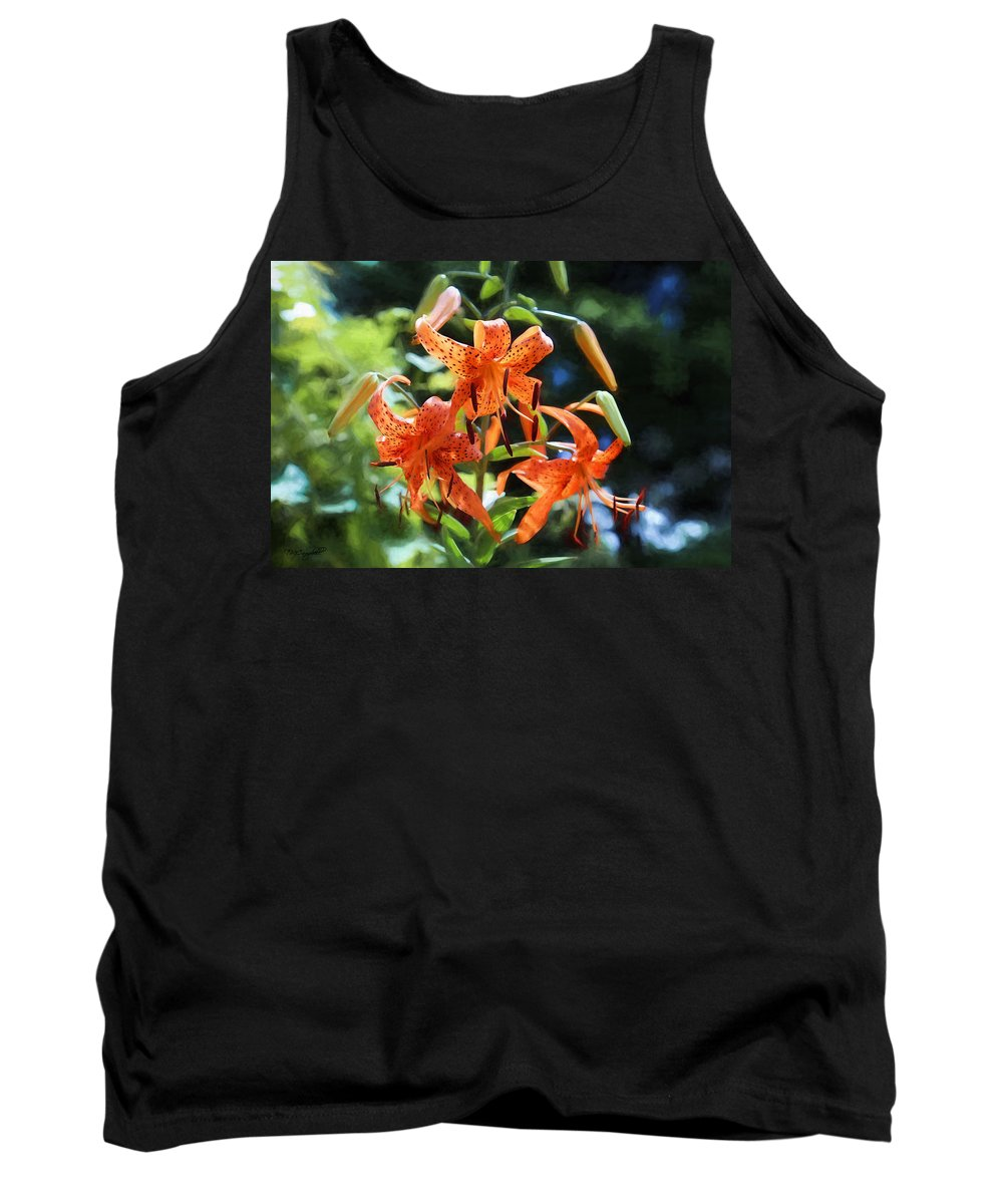 Lilies Tank Top featuring the painting Tigers In The Sun by Theresa Campbell