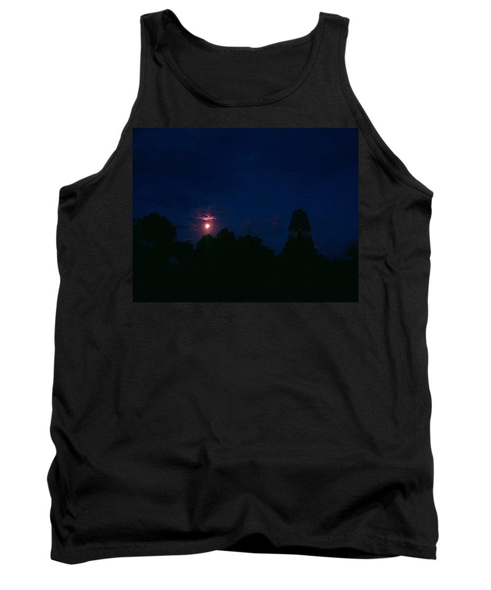 Tikal Tank Top featuring the photograph Tikal Guatemala Full Moon by Gary Wonning