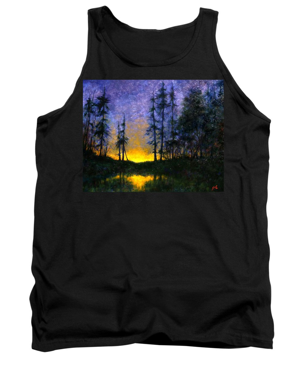 Landscape. Nocturn Tank Top featuring the painting Timberline by Jim Gola