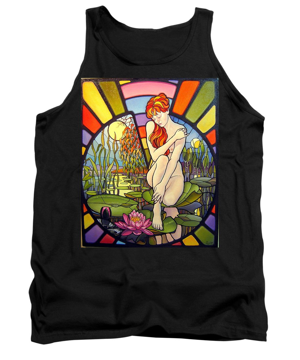 Art Oil Painting Canvas Stained Glass Woman Time Tank Top featuring the painting Time Passing By by Gyuri Lohmuller