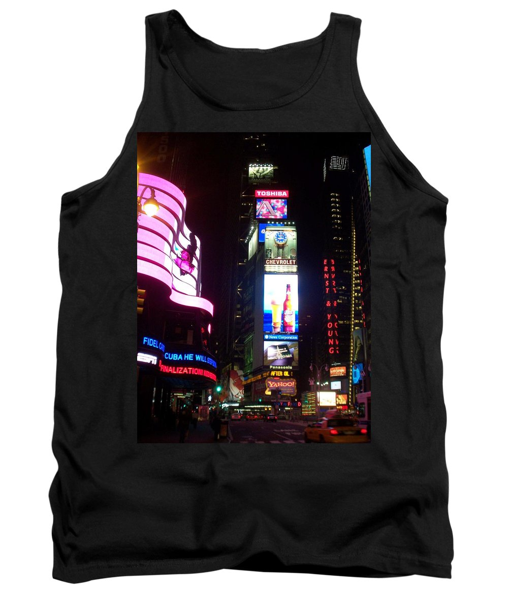 Times Square Tank Top featuring the photograph Times Square 1 by Anita Burgermeister