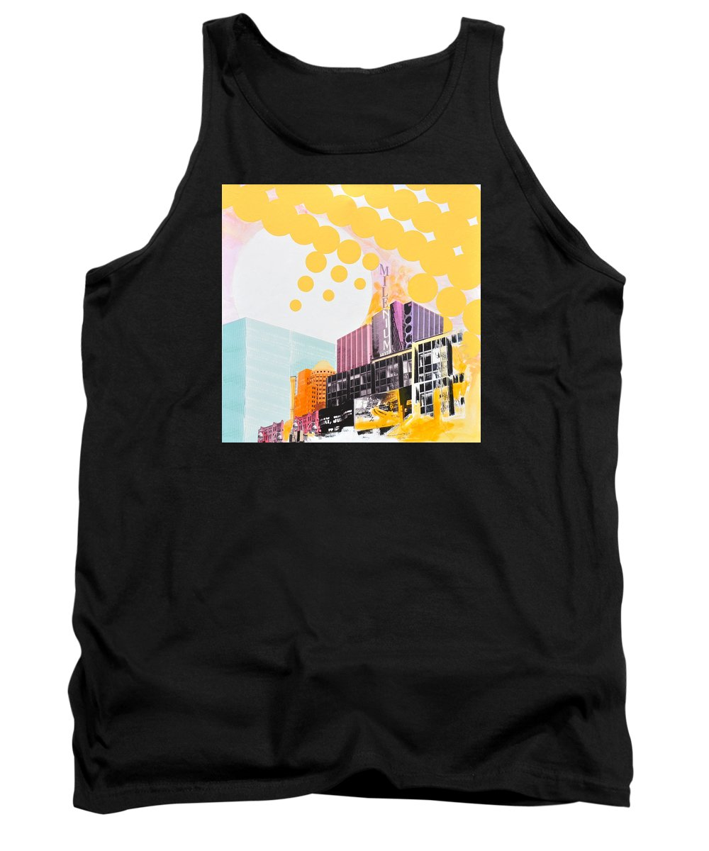 Ny Tank Top featuring the painting Times Square Milenium Hotel by Jean Pierre Rousselet