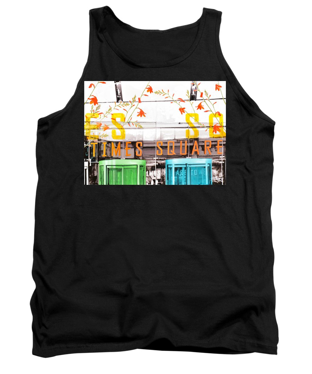 Ny Tank Top featuring the painting Times Square Tower by Jean Pierre Rousselet