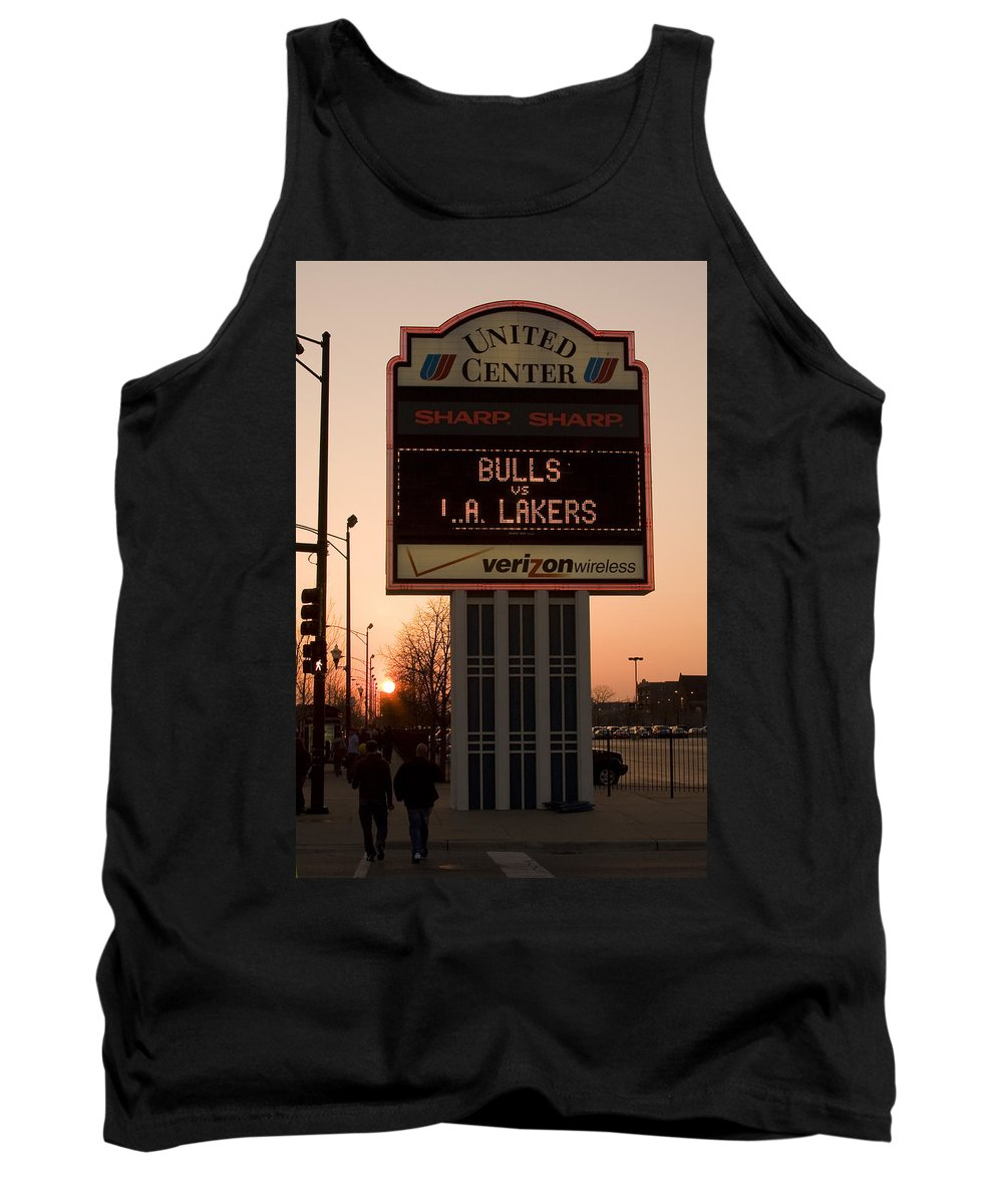 Chicago Windy City Evening Sunset Bulls Game La L.a. Lakers United Center Tank Top featuring the photograph To The Bulls Game by Andrei Shliakhau