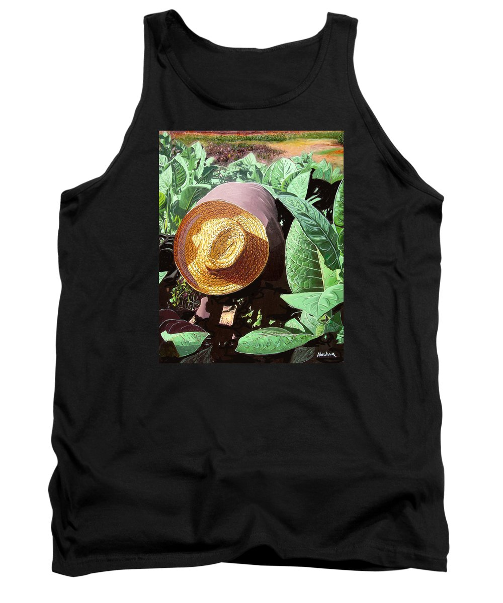 Tobacco Tank Top featuring the painting Tobacco Picker by Jose Manuel Abraham