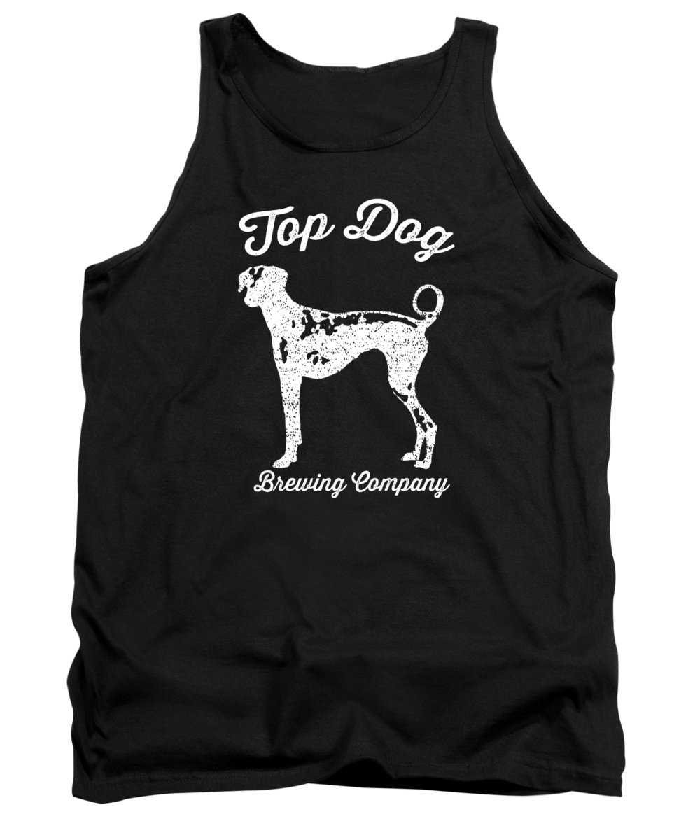 Dog Tank Top featuring the digital art Top Dog Brewing Company Tee White Ink by Edward Fielding