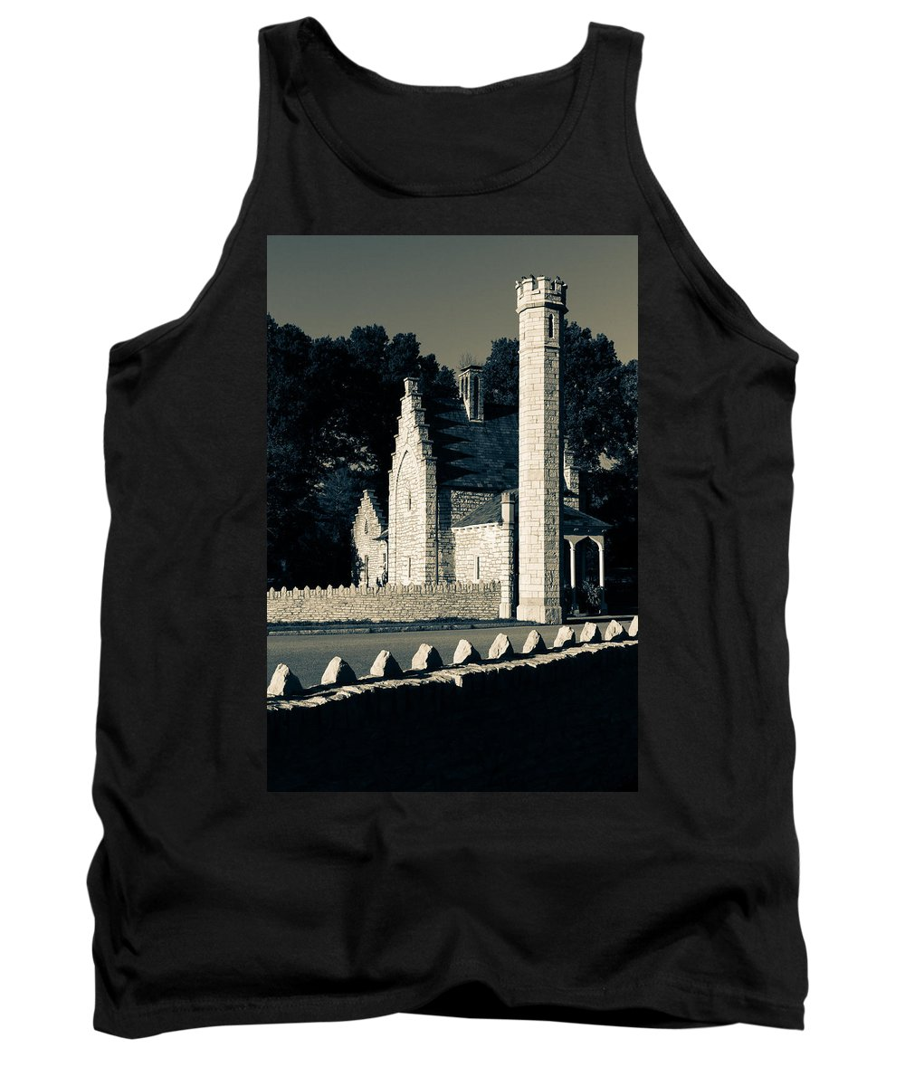 Tower Grove Tank Top featuring the photograph Tower Grove Park West Gatehouse by Scott Rackers