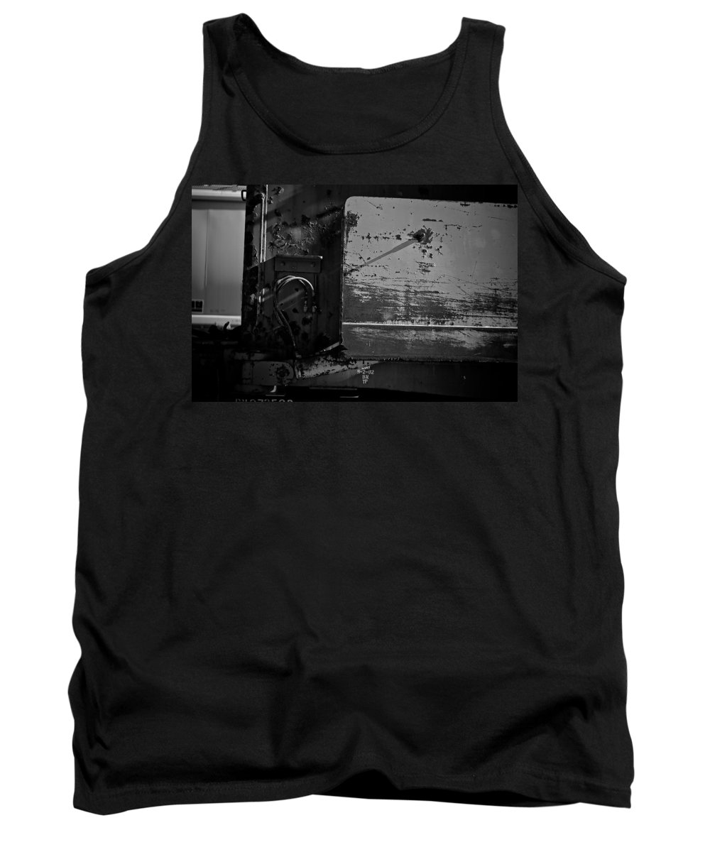Black And White Photograph Tank Top featuring the photograph Track Plow by Mike Oistad