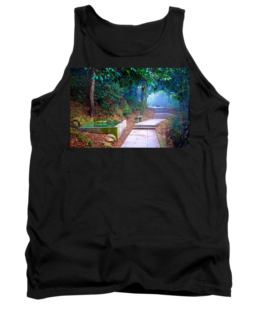Trail Tank Top featuring the photograph Trail In Woods by James O Thompson