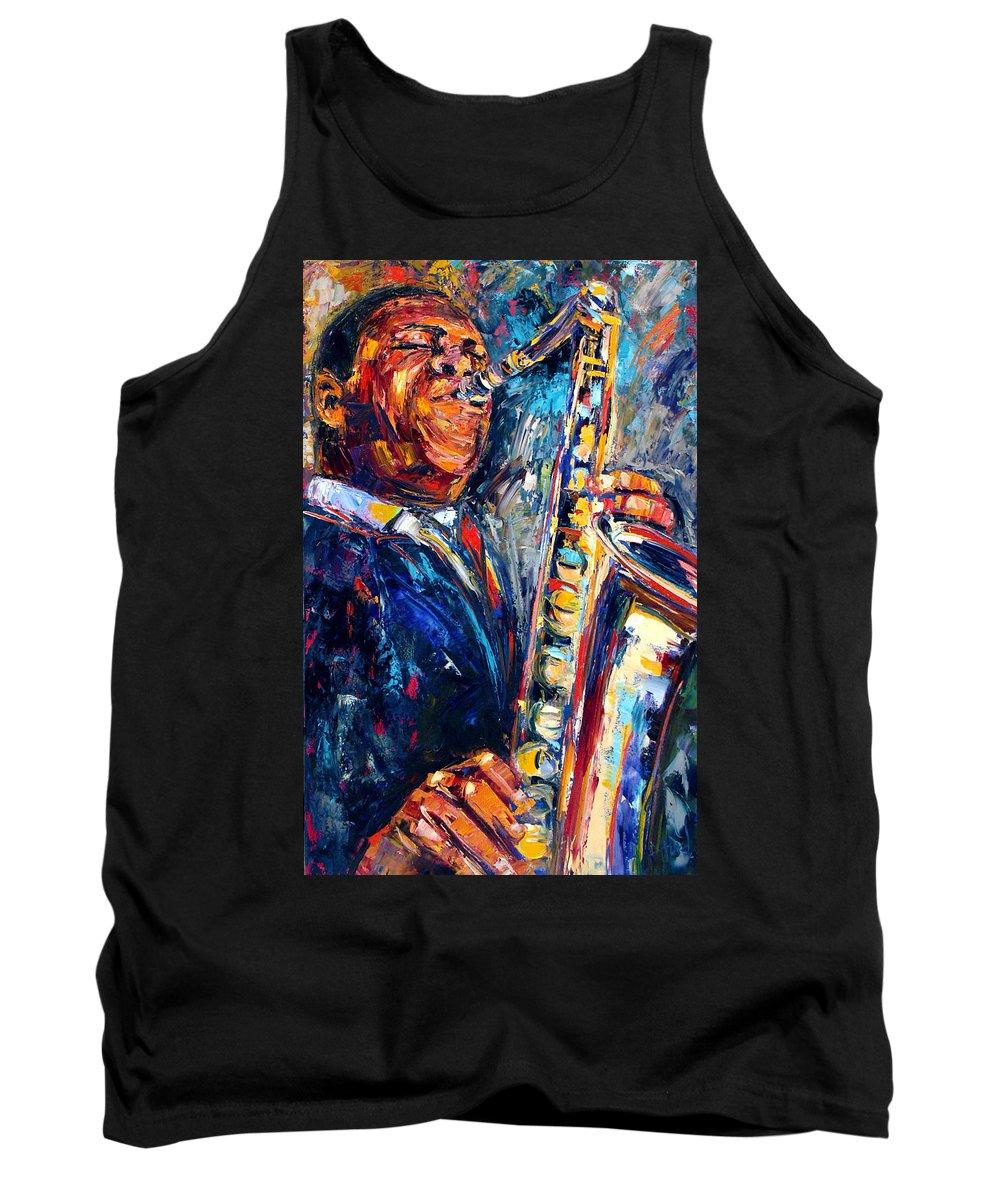 John Coltrane Tank Top featuring the painting Trane by Debra Hurd