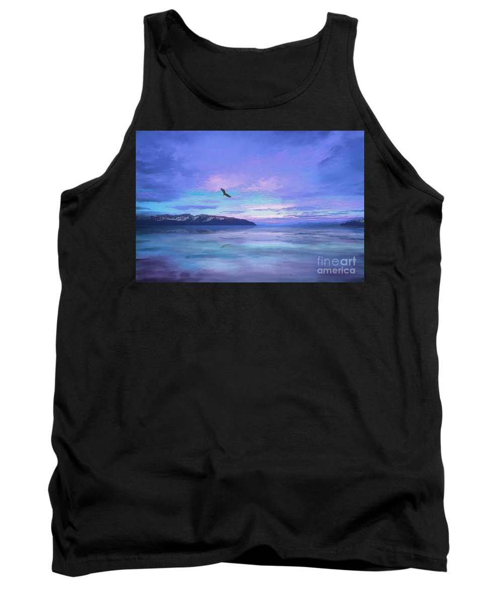 Purple Sky Tank Top featuring the painting Tranquility At Dawn by Todd L Thomas